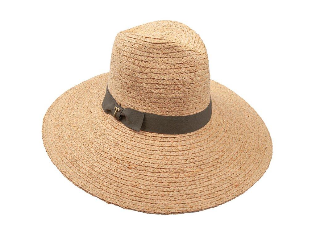 Dámský klobouk se stuhou s mašlí / Profile hat straw country / TONAK / khaki