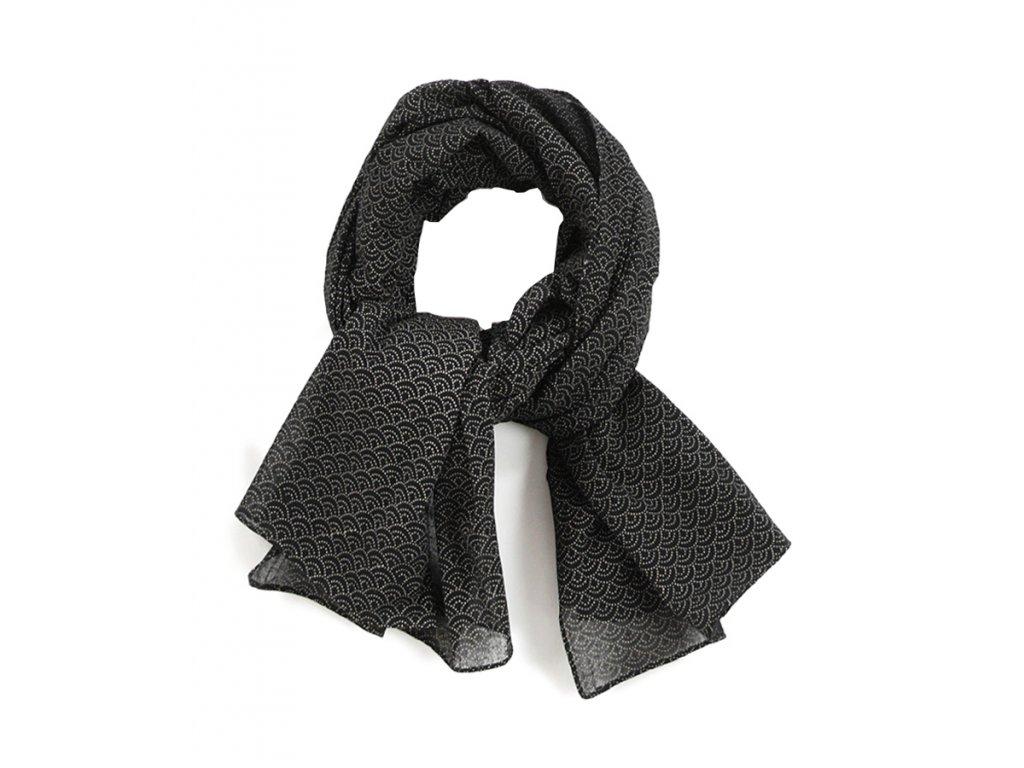 Pánský Šál Šátek Japonský Modrotisk / bavlna, unisex, černá, béžová