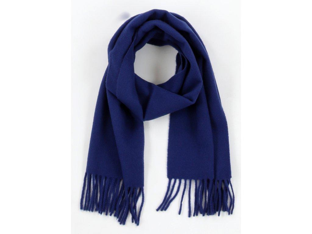 Klasická vlněná šála s třásněmi / unisex - dámská, pánská, dětská / velikost M šál vlna navy modrá