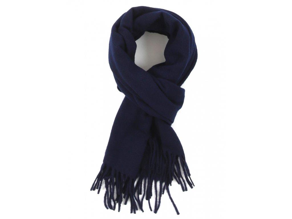 Klasická vlněná šála s třásněmi / unisex - dámská, pánská / velikost XL šál vlna navy modrá