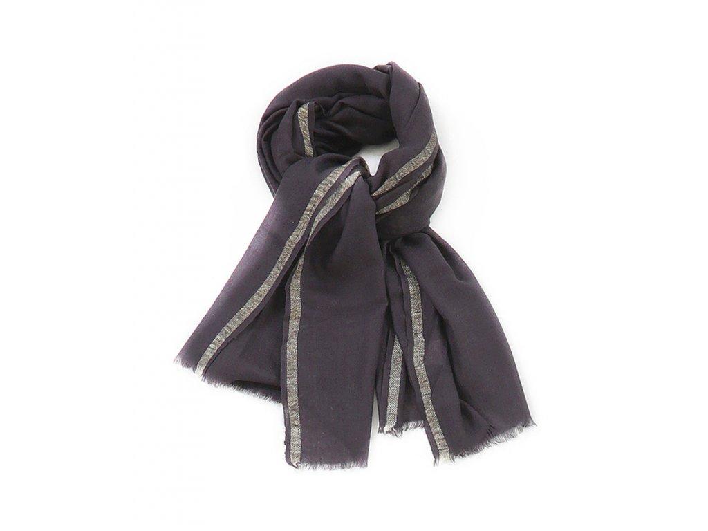 Jemný vlněný šál s třásněmi / Metalický proužek / Vlna / šedá, modrá, černá