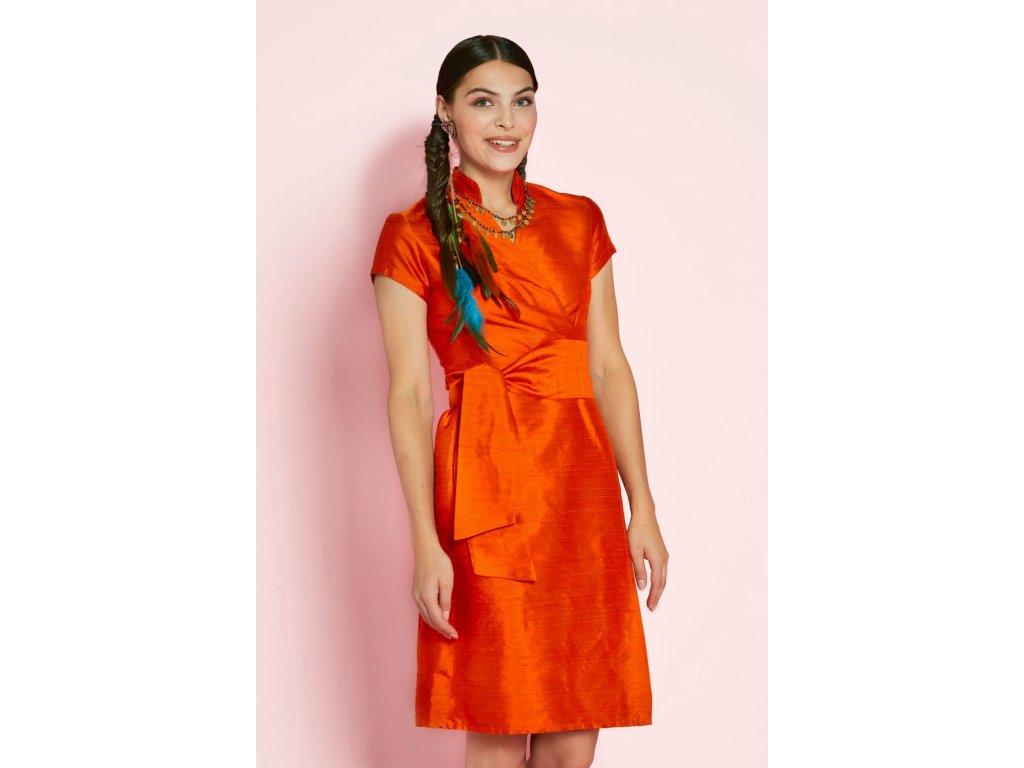 Dámské zavinovací šaty z divokého hedvábí Sauvage Robe Chinoise ANTOINE ET LILI / oranžová wild silk dress orange