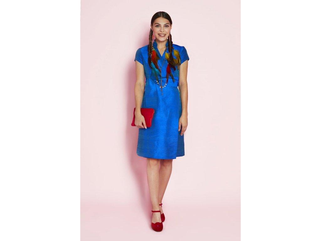 Dámské zavinovací šaty z divokého hedvábí Sauvage Robe Chinoise ANTOINE ET LILI / modrá