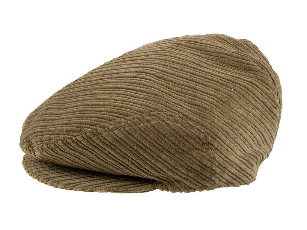 Pánská Čepice s kšiltem Bekovka TONAK / manšestrová kšiltovka klobouk / unisex / černá, stříbřitá písková