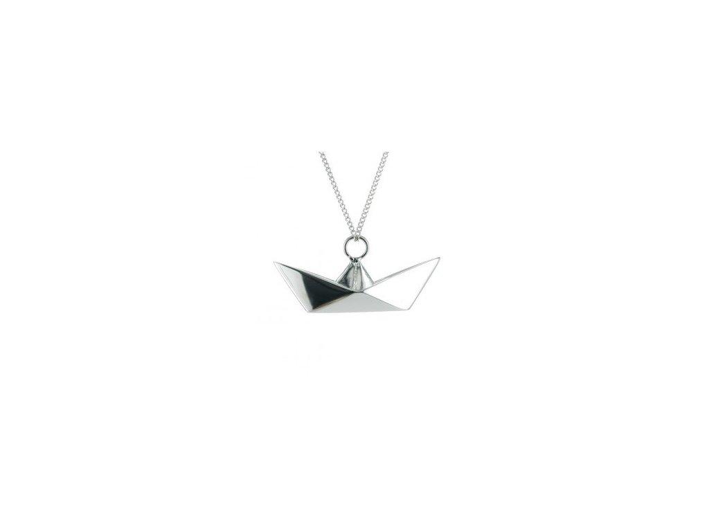 Náhrdelník Loď ORIGAMI JEWELLERY stříbro, zlato, růžové zlato, černé zlato sterling sautoir bateau