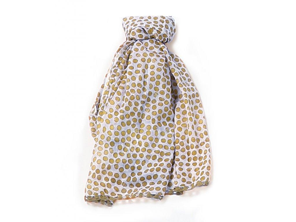 Šátek lemovaný háčkovanou krajkou / Bavlna / puntíky, bílá káva