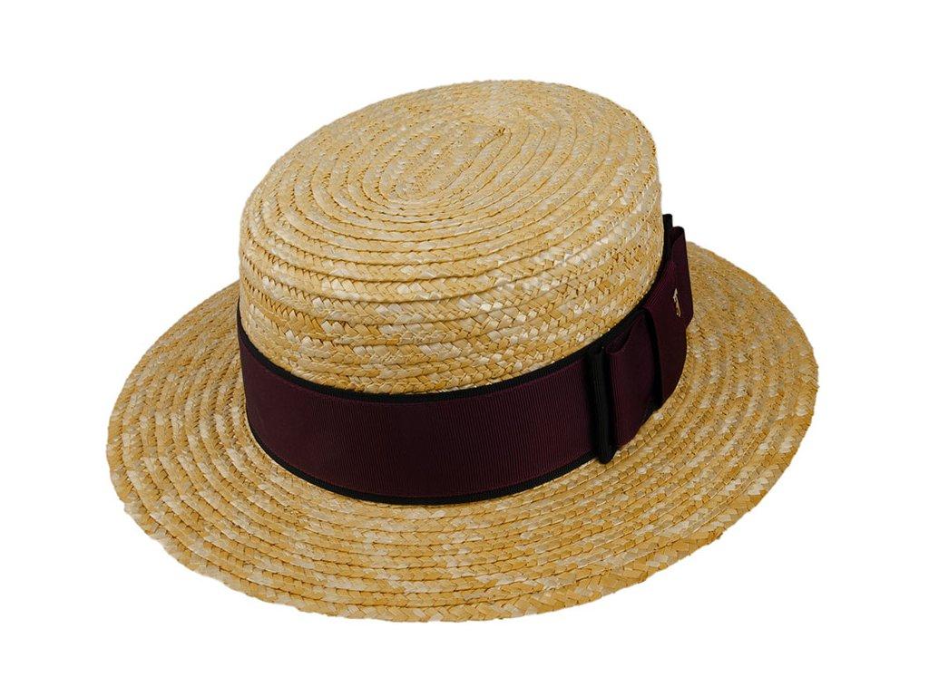 Dámský letní slaměný boater klobouk / žirarďák se širokou stuhou / TONAK