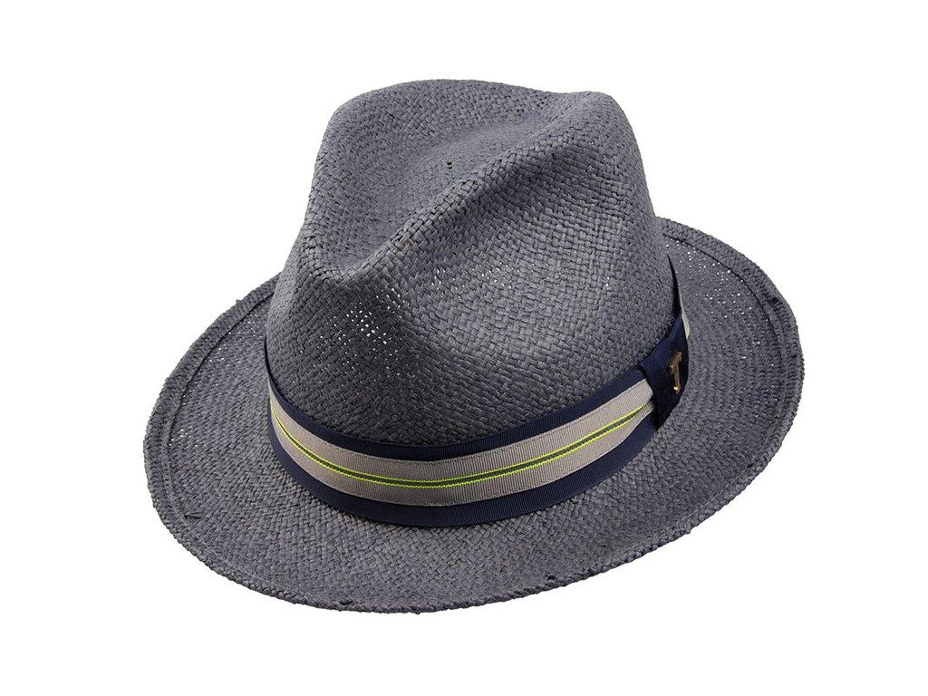 Slaměný unisex klobouk Fedora Christian / námořnická modrá / TONAK pánský36017 navy 1 slameny klobouk modry