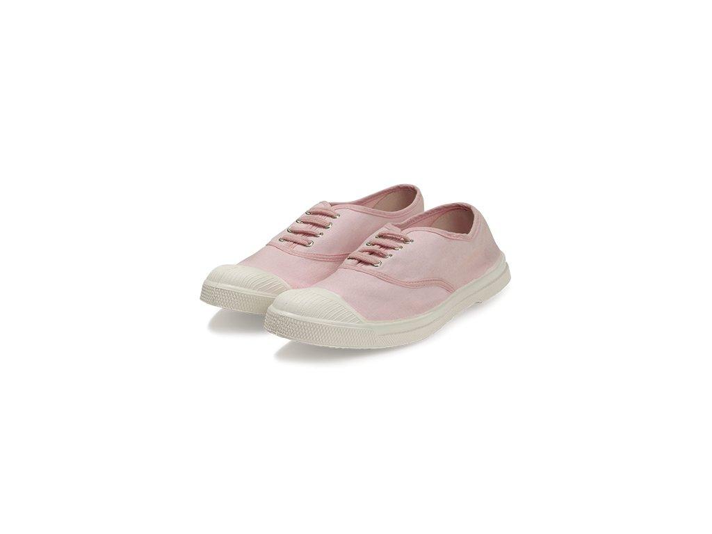 Tenisky Tennis Lacets BENSIMON / zavazovací na tkaničky / poudre, pudrová růžová boty obuv