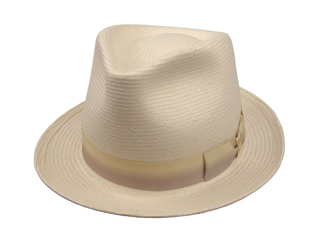 Slaměný pánský klobouk Fedora Andre / smetanová slonová kost / TONAK natur