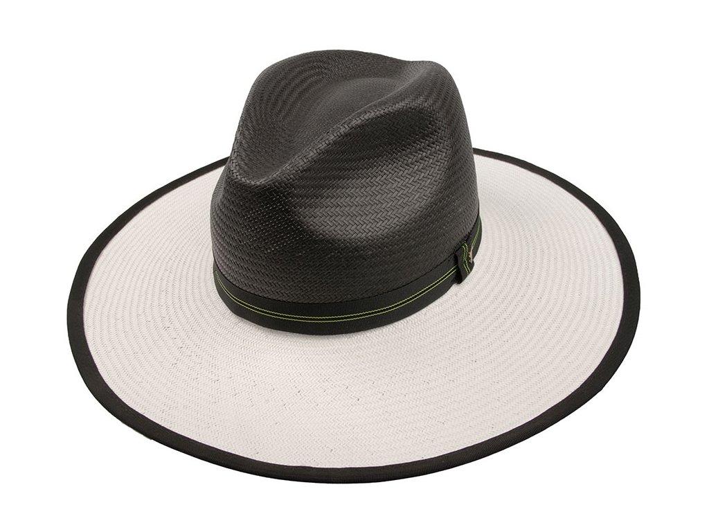 Dámský elegantní slaměný klobouk / Fedora Aurelie / TONAK / bílá, černá