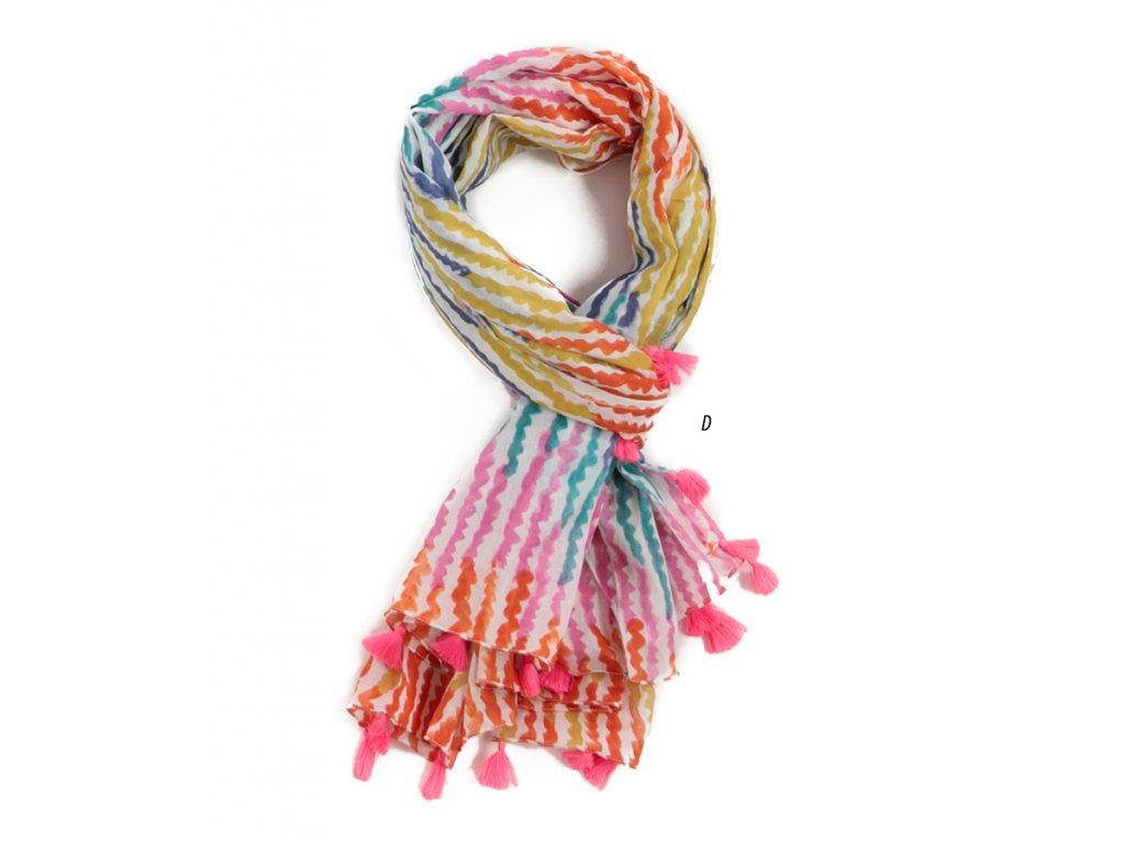 Šál Šátek se střapečky, vzor Vlny / barvy duhy / Bavlna
