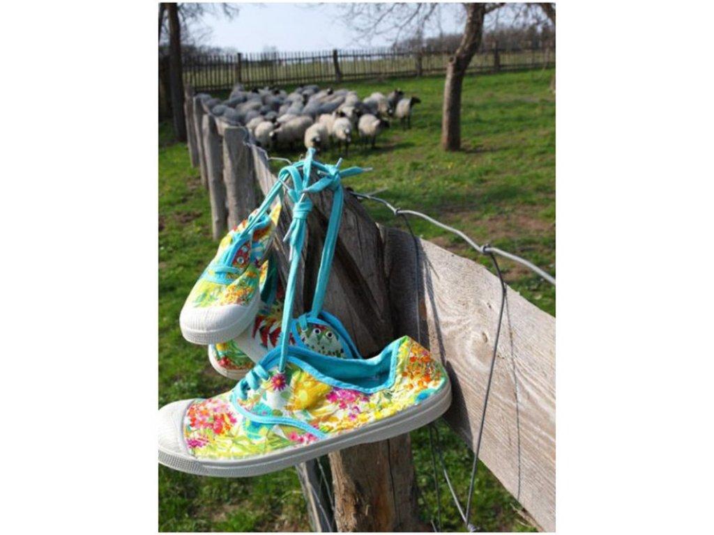 Boty obuv BENSIMON Tenisky Tennis Lacet Liberty květiny tyrkysová