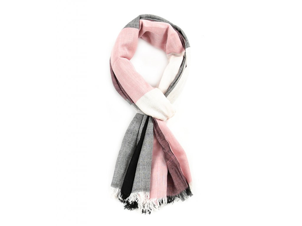 šátek šála 100% viskóza růžovo černo šedo bílá