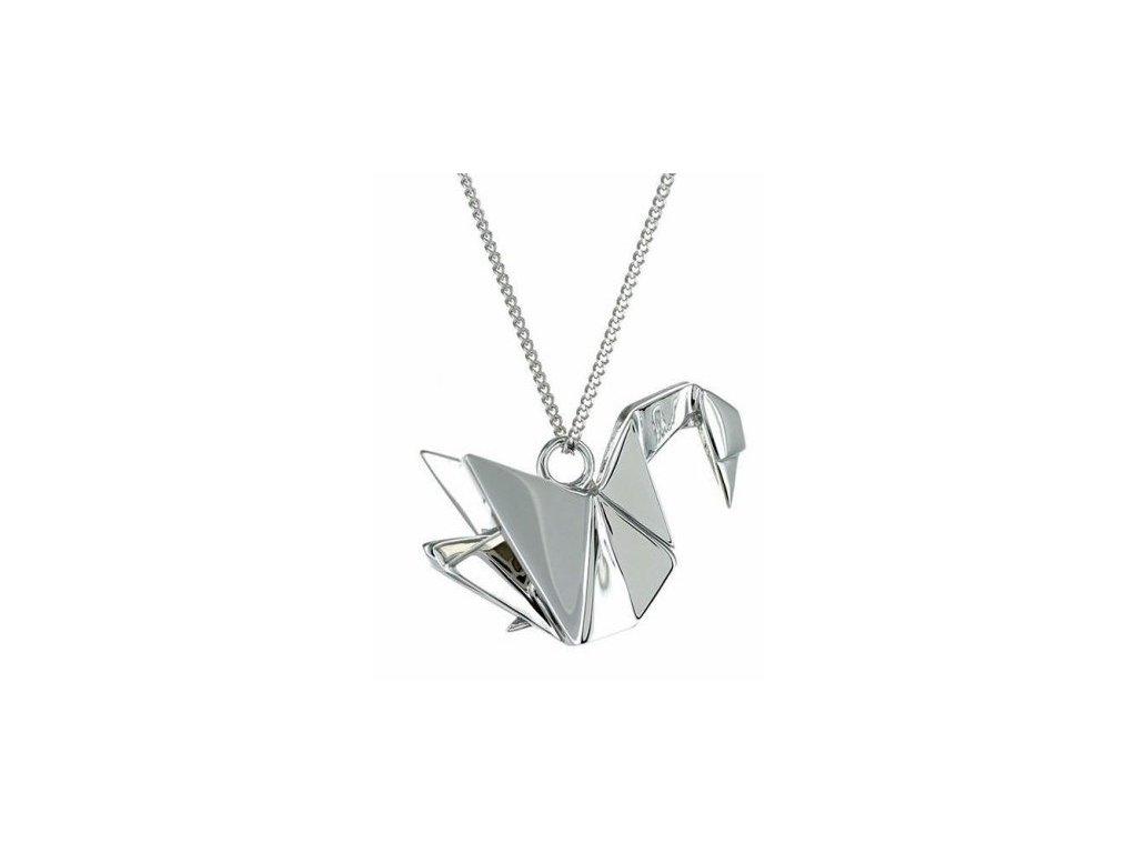 stříbro stříbrný Náhrdelník Labuť ORIGAMI JEWELLERY