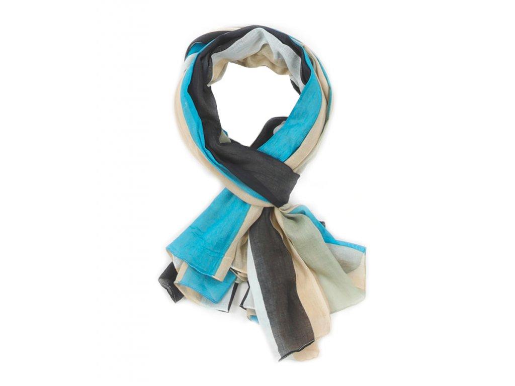 šátek šála 100% bavlna pruhy tyrkysová béžová šedá khaki