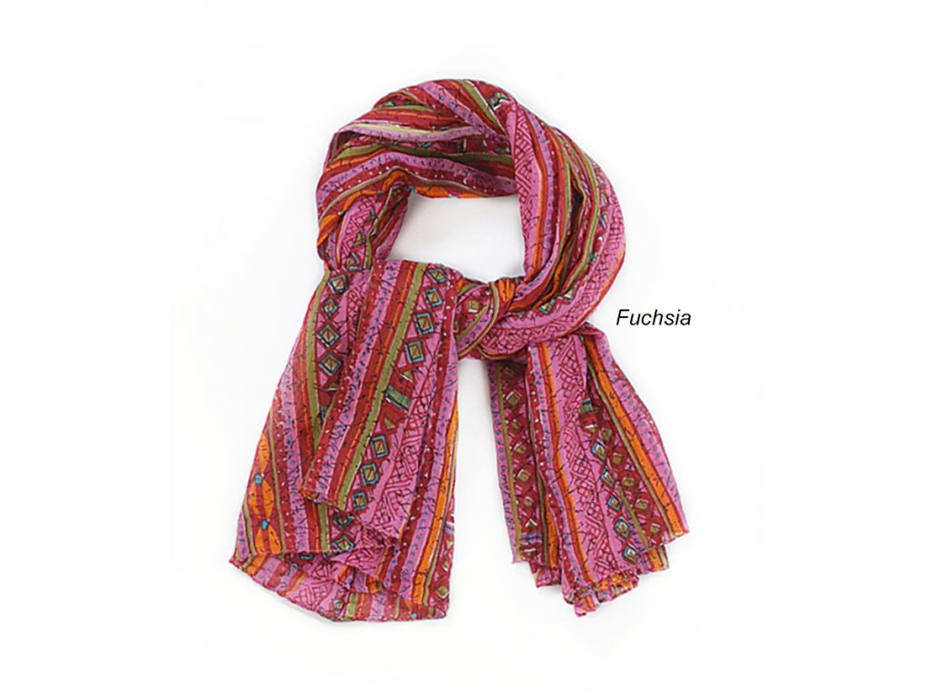 šátek šála 100% bavlna vzor růžová