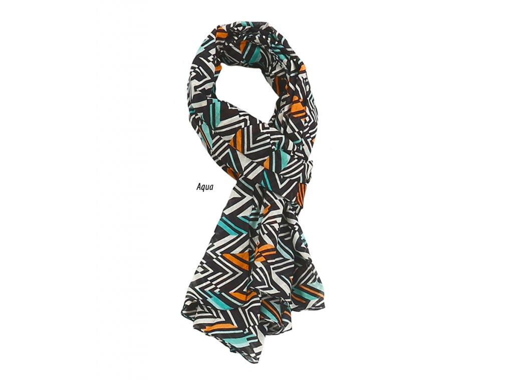 šátek šála 100% bavlna vzor pestrobarevný tyrkysová oranžová