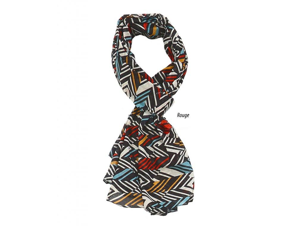 šátek šála 100% bavlna vzor pestrobarevný červená žlutá modrá