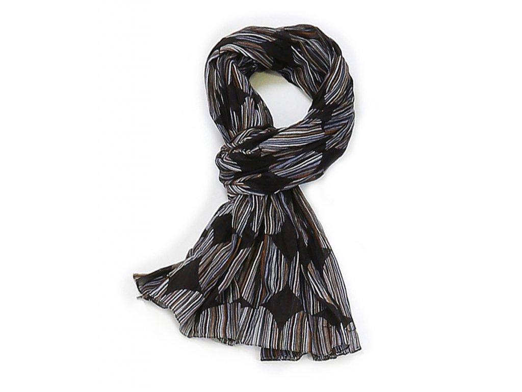 šátek šála unisex pánský 100% bavlna vzor černá