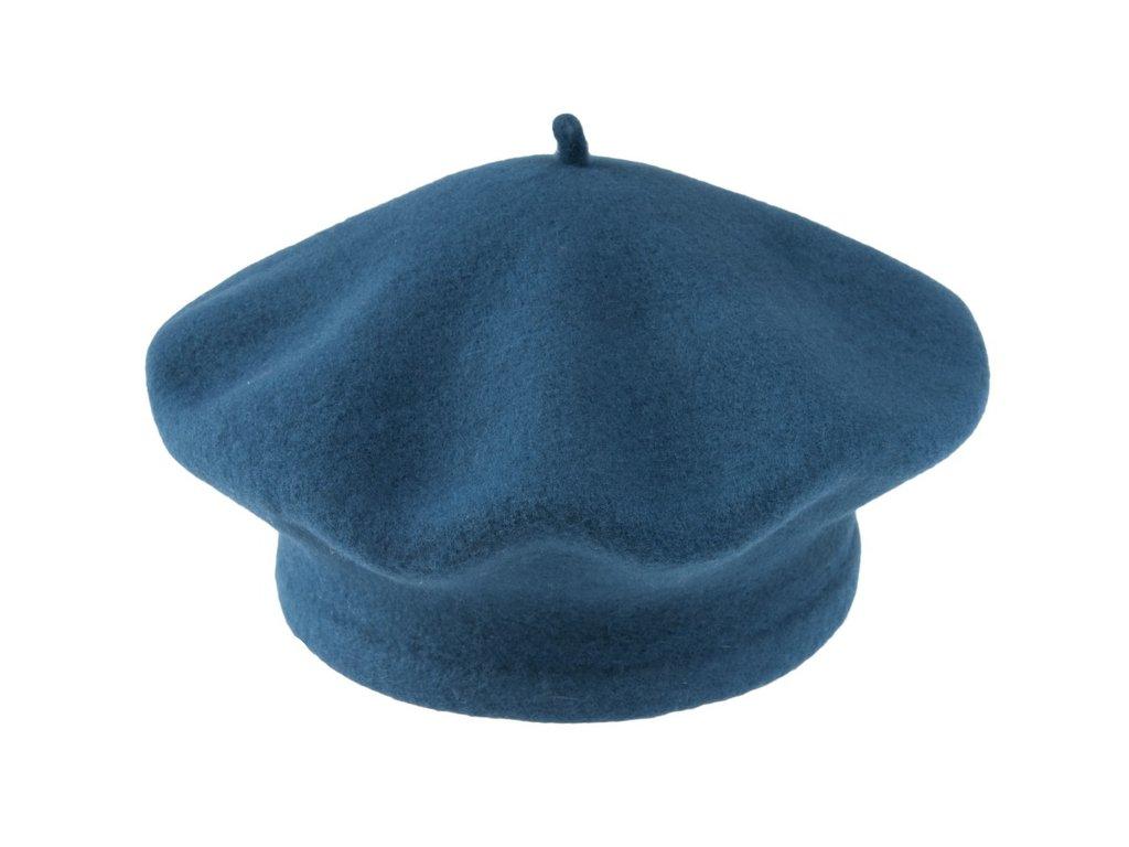 čepice baret unisex TONAK vlna tyrkysová petrolejová 050298