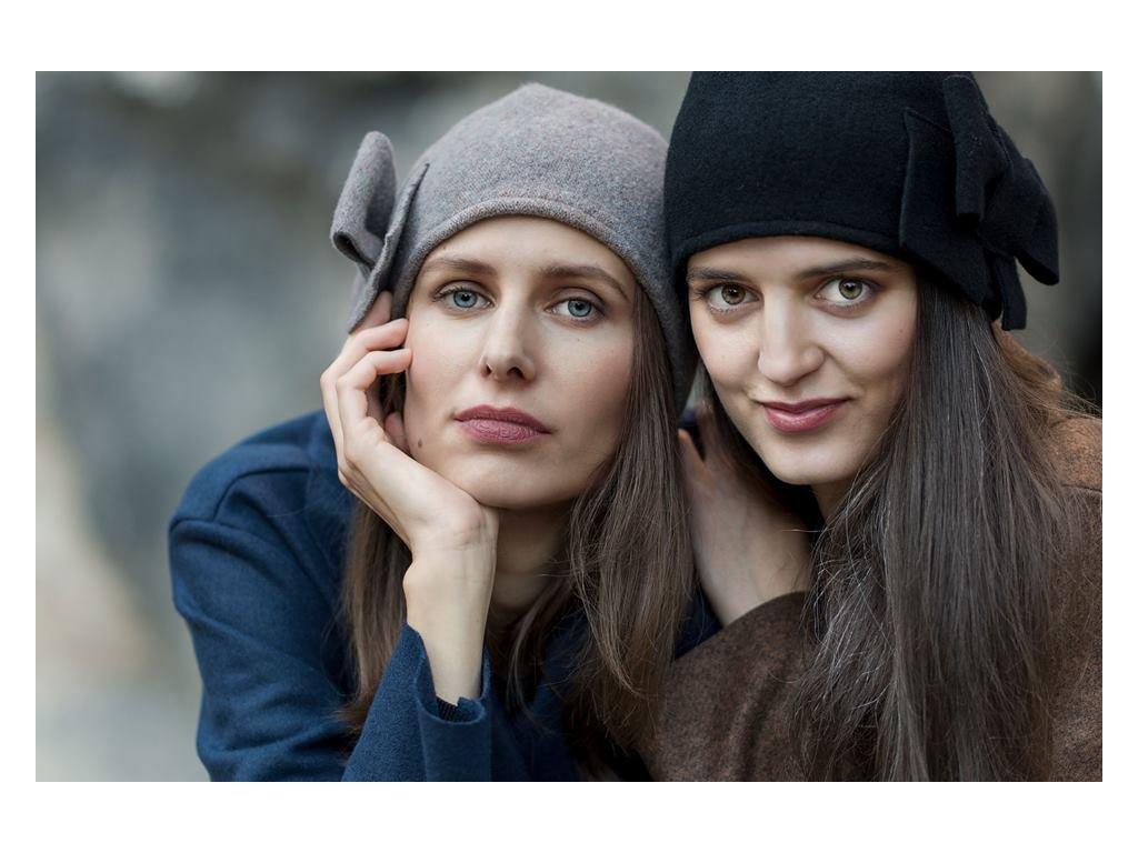 Čepice dámská s Mašlí BOW Hat klobouk BOHEMANIA Tonak šedá černá vlna
