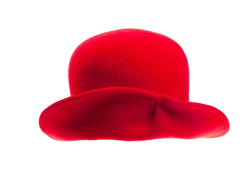 klobouk dámský TONAK vlna přehnutý červená