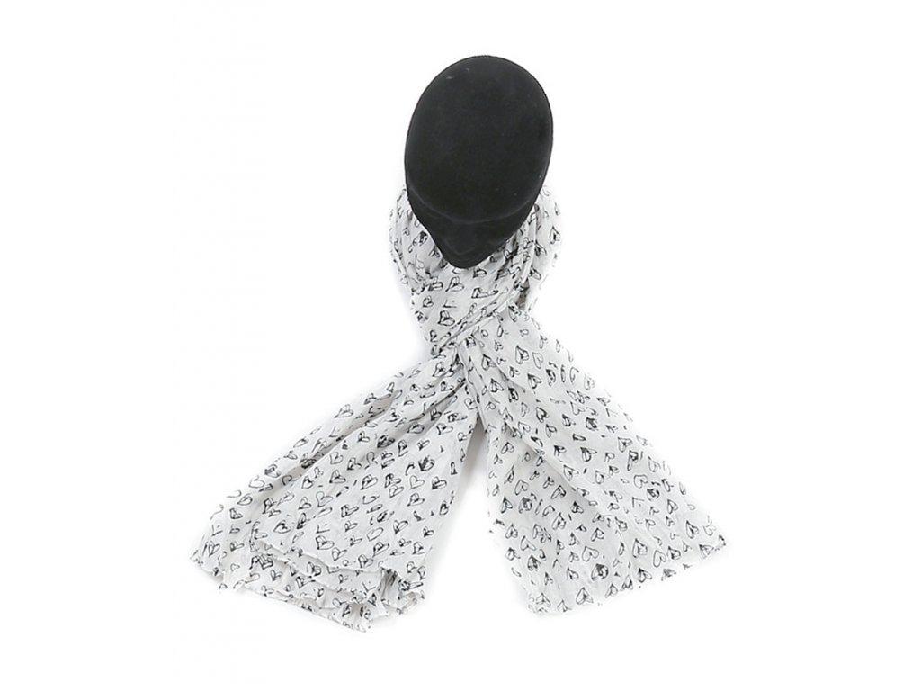 šátek šála 100% bavlna vzor potisk srdce bílá červená černá
