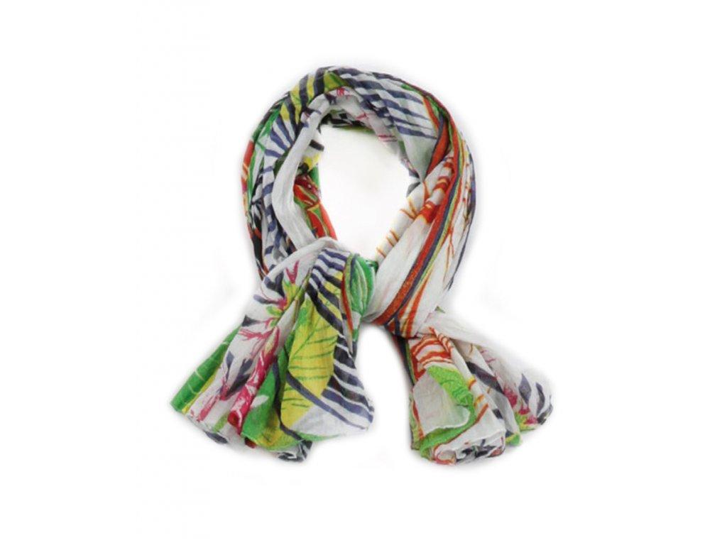 šátek šála 100% bavlna potisk květy bílá Hawaii