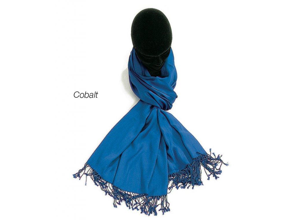 šátek šála unisex 100% viskóza modrá bleu cobalt