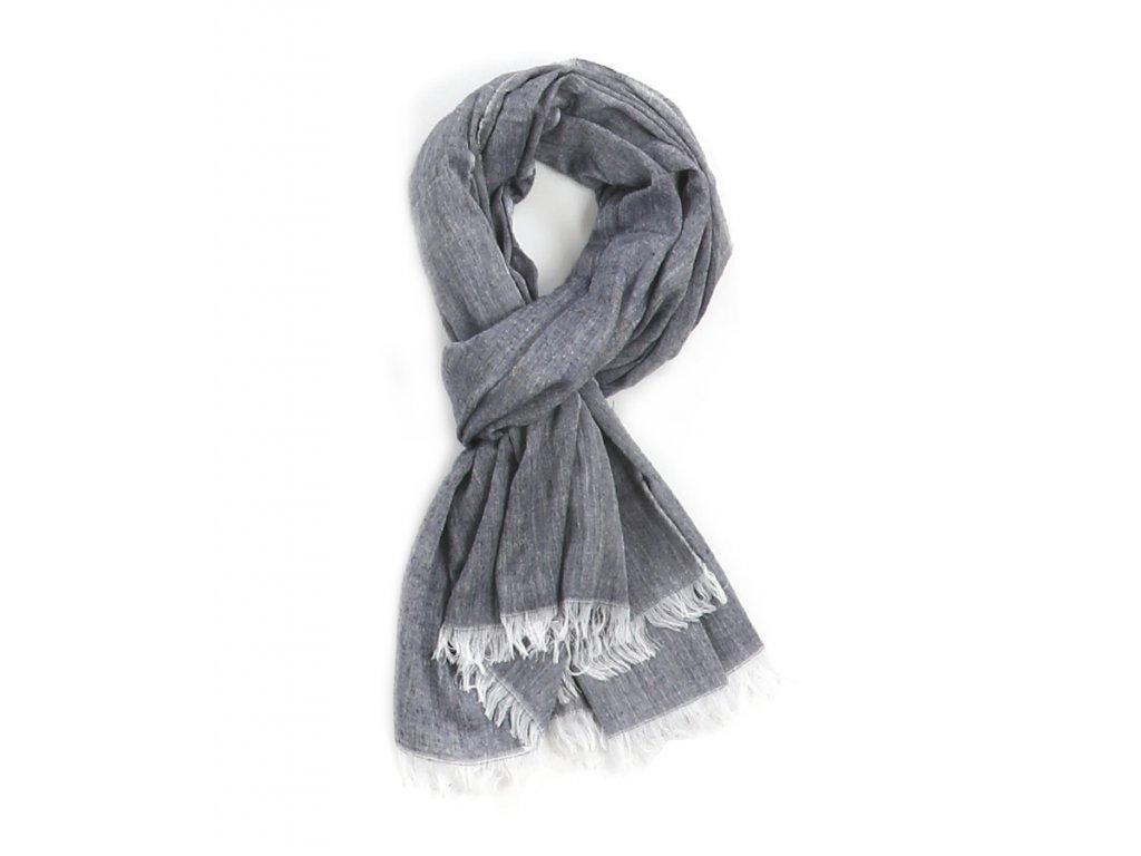 šála šátek unisex pánský 100% bavlna třásně modrá navy