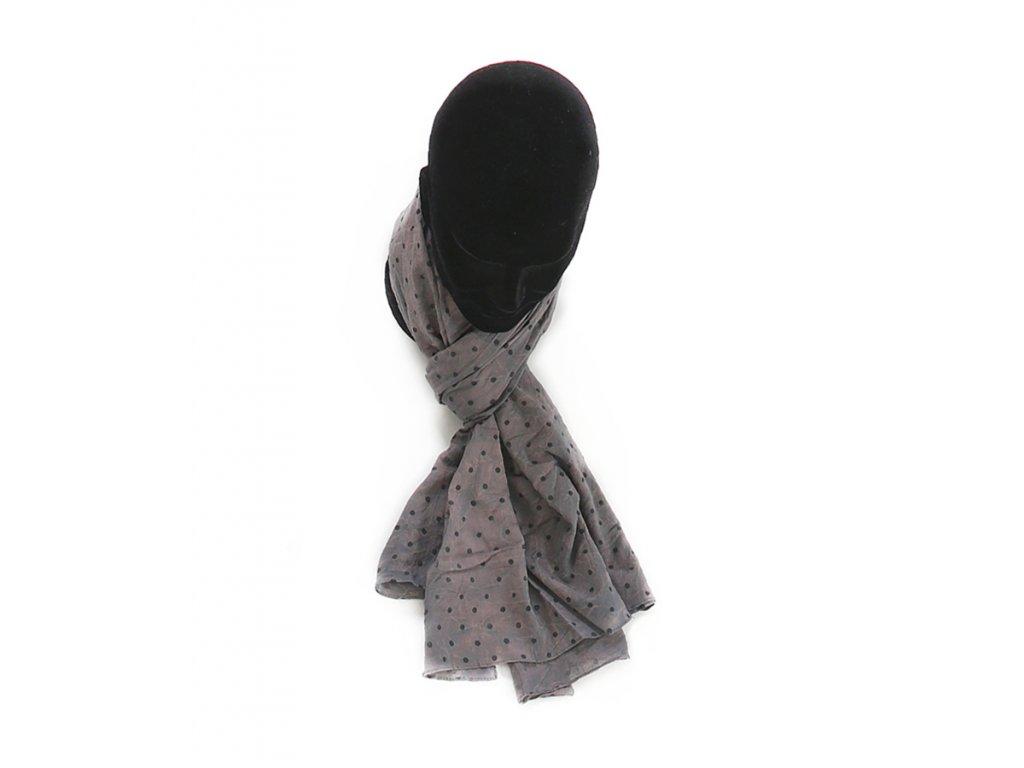 šátek šála 100% bavlna potisk vzor puntíky šedá, ženy muži, dámský pánský, unisex