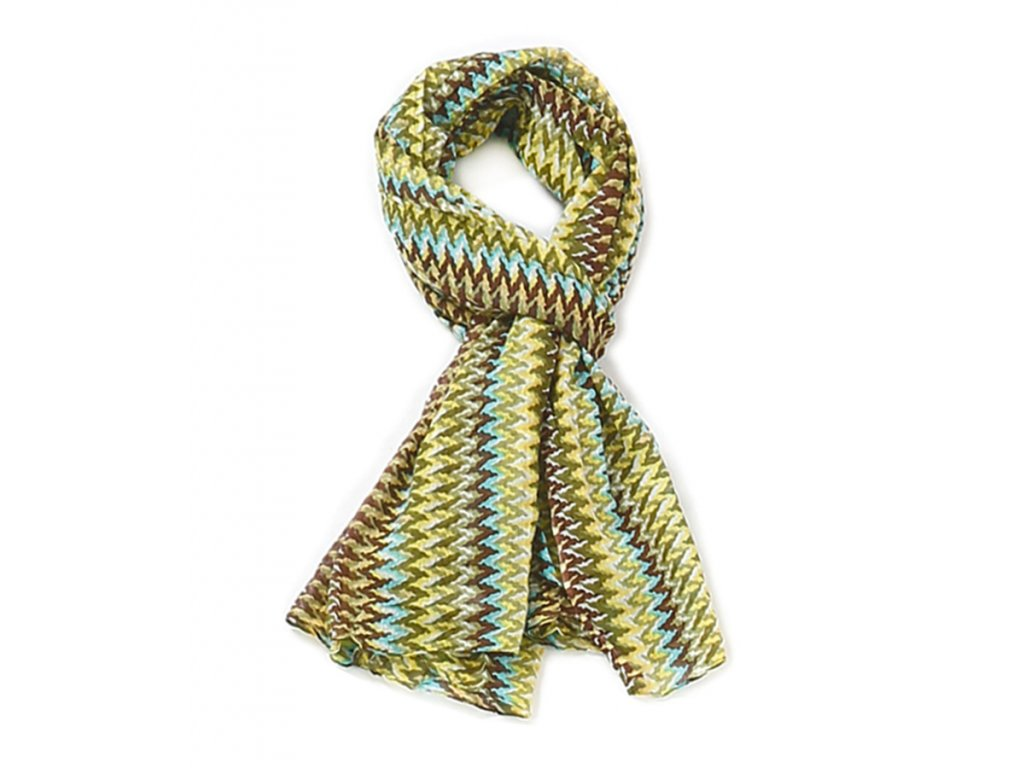 Šátek barevný vzor / zelená Missoni / Bavlna