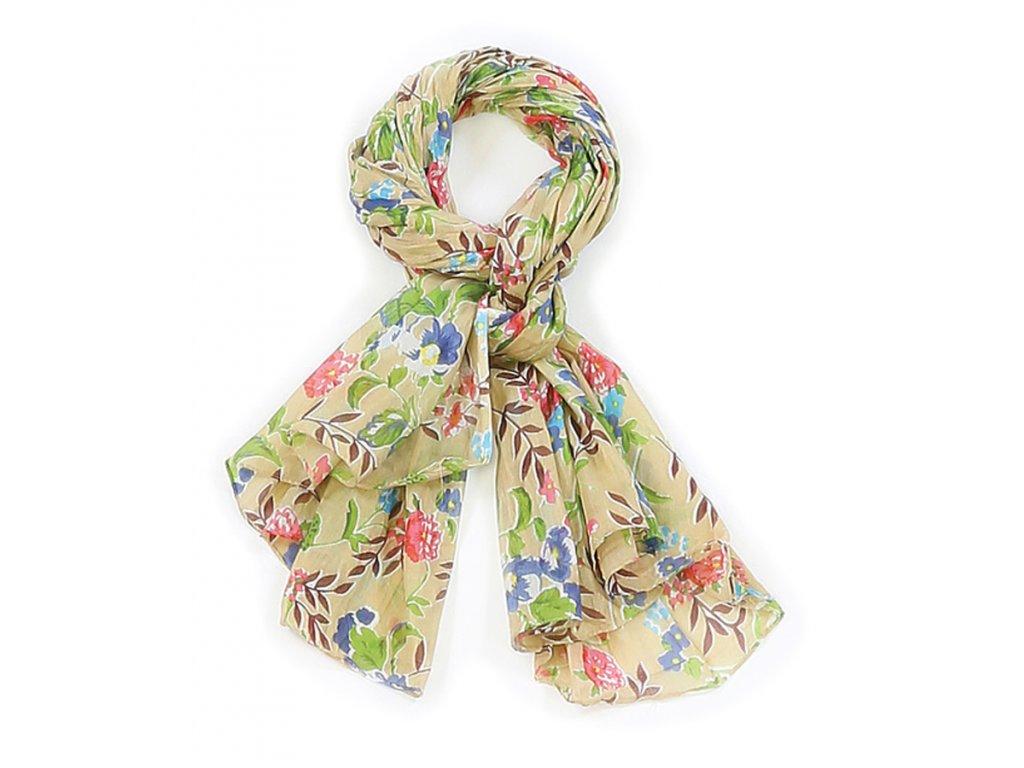 šátek šála 100% bavlna potisk květy béžová