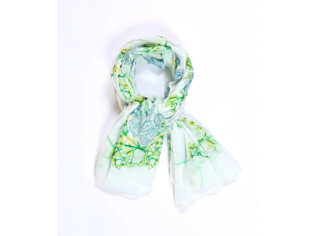 šátek šála 100% bavlna potisk ptáčci květy