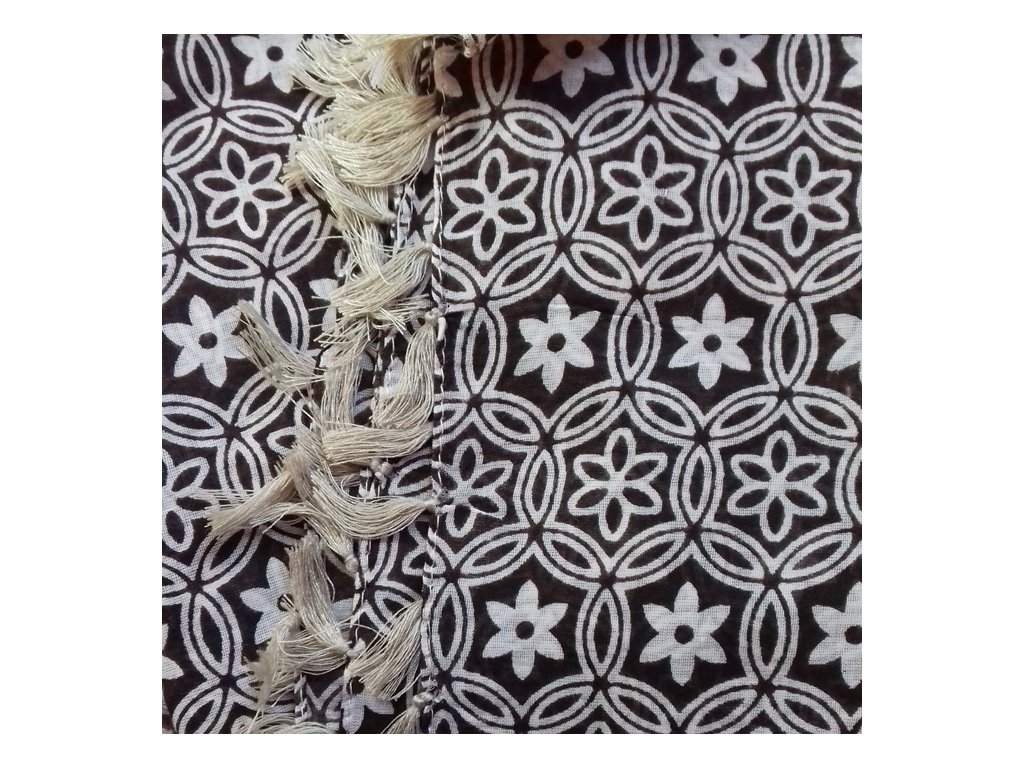 šátek šála 100% bavlna třásně vzor rozeta hnědá