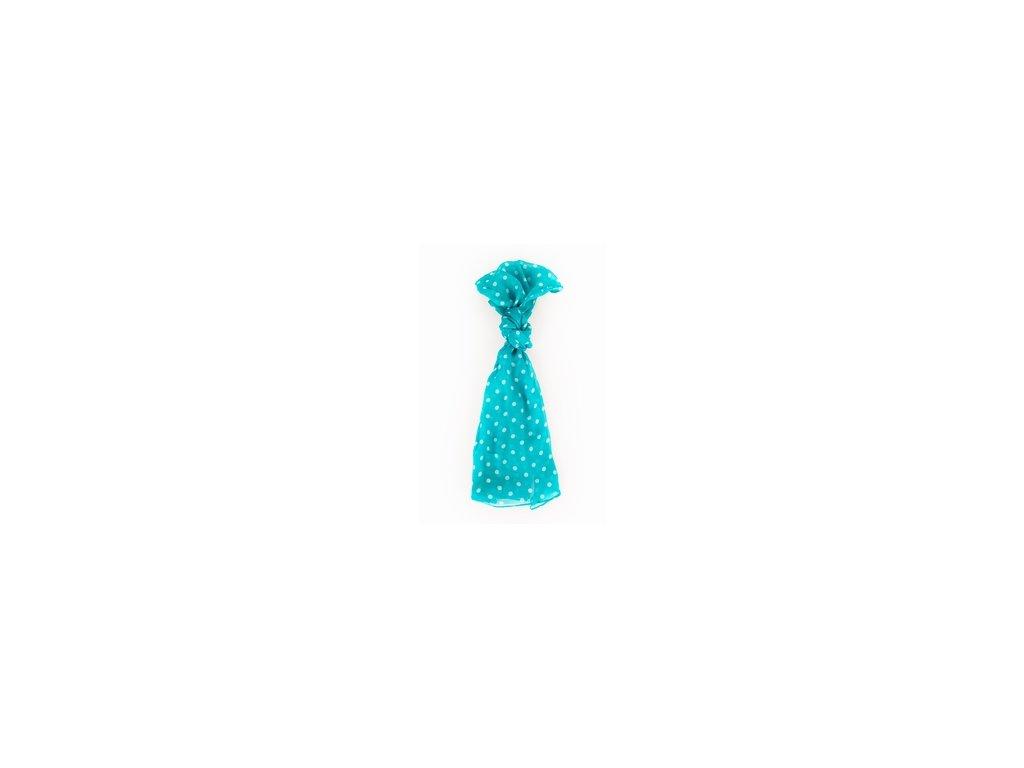šátek šála Antoine et Lili 100% hedvábí silk puntíky tyrkysová