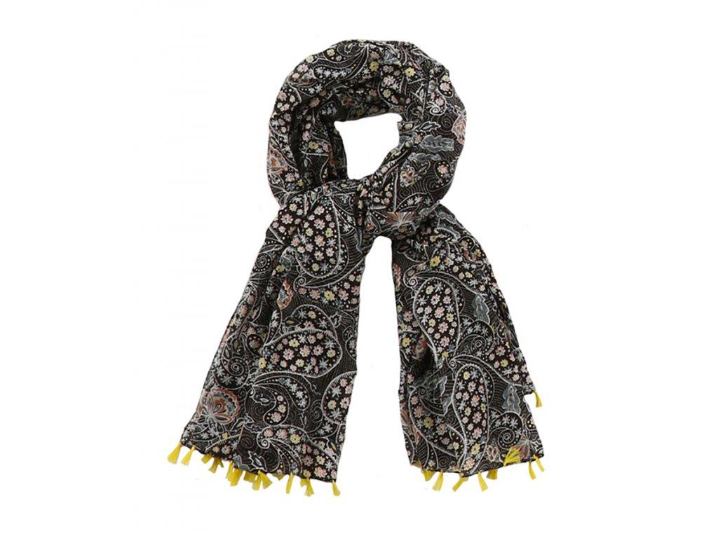 šátek šála 100% bavlna třásně vzor potisk drobné květy černá anýzová žlutá
