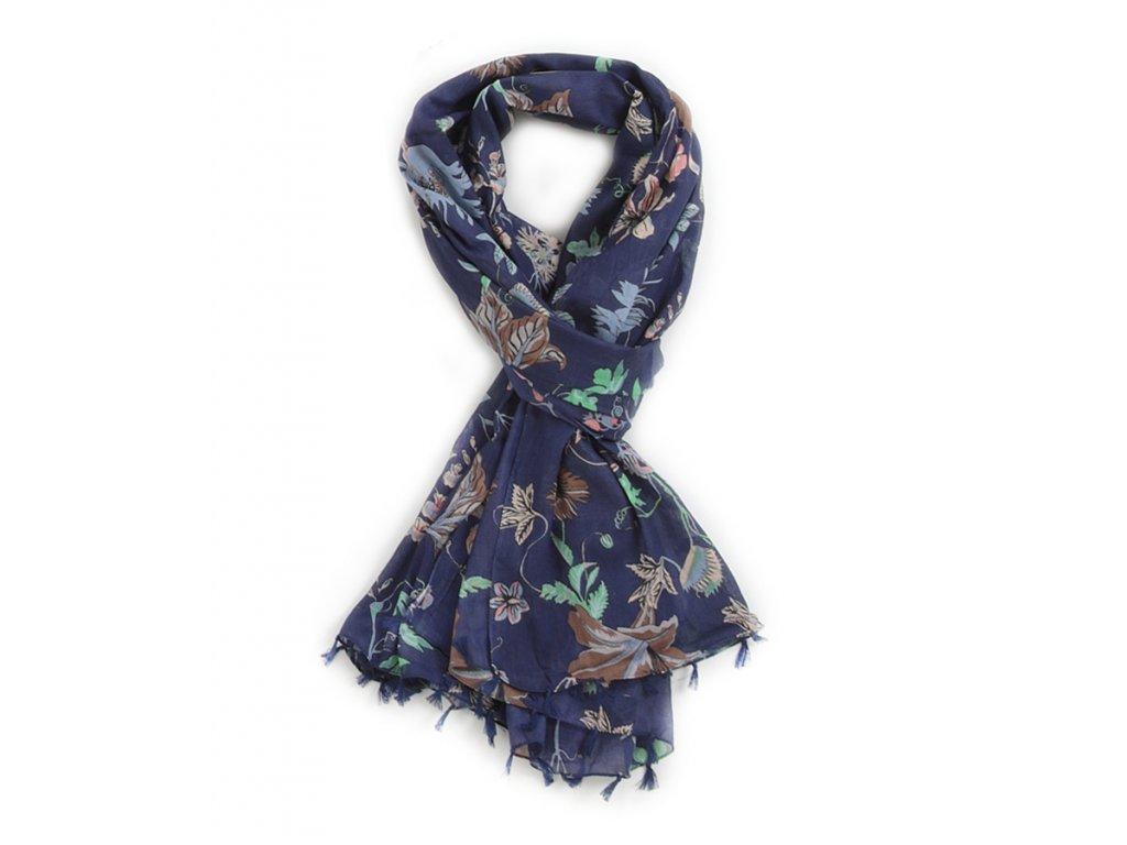 šátek šála 100% bavlna třásně potisk květy modrá