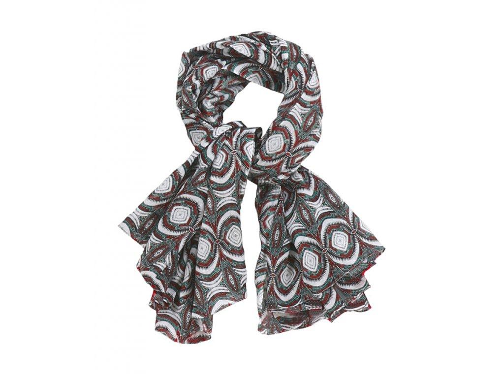 šátek šála 100% bavlna vzor červená zelená bílá černá