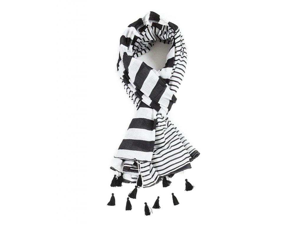 Šál černobílé pruhy & střapce / šátek šála 100% bavlna