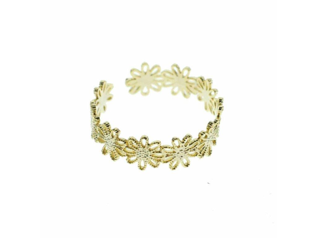 Prsten Zlatá krajka, motiv Květy