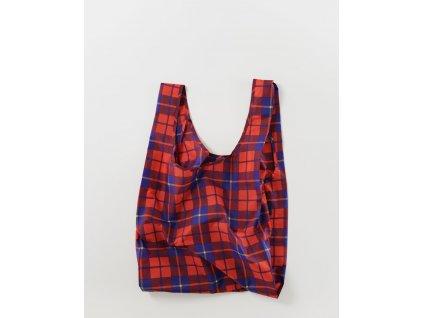 eco Ripstop ekologická nákupní taška BAGGU Red Tartan červená