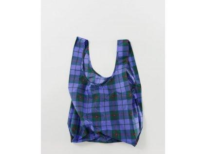 eco Ripstop ekologická nákupní taška BAGGU Blue Tartan modrá