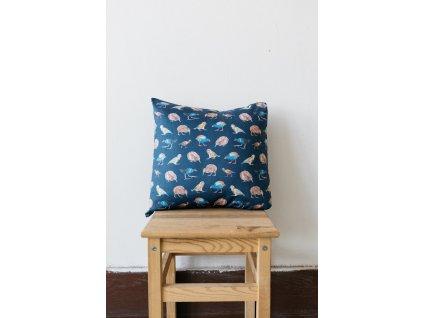 Bavlněný povlak na polštář pták Kiwi ANNANEMONE / australský zvířecí motiv, ptáci, modrá