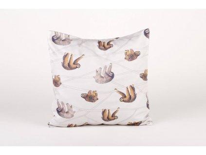 Bavlněný povlak na polštář, Lenochod ANNANEMONE / australský zvířecí motiv, bílá