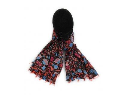 šátek šála 100% bavlna třásně vzor potisk květy černá pestrobarevný
