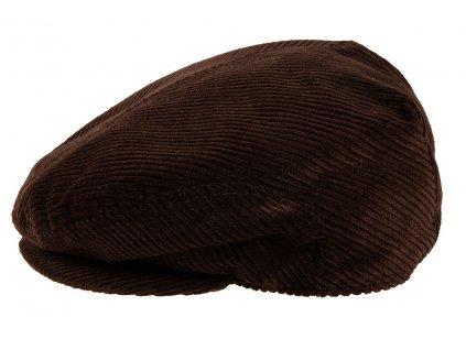 Pánská Čepice s kšiltem TONAK / manšestrová kšiltovka bekovka klobouk / unisex / hnědá