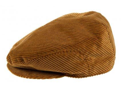 Pánská Čepice s kšiltem Bekovka TONAK / manšestrová kšiltovka klobouk / unisex / hnědá čokoládová, hnědá medová