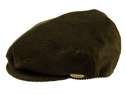 Pánská Čepice s kšiltem Bekovka TONAK / manšestrová kšiltovka klobouk / unisex / khaki
